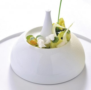 Lettuce, white chocolate, passion fruit, cucumber' dish, by Christian Hümbs