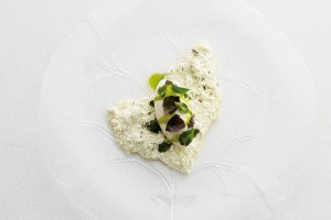 Thyme ice cream with snow of goat milk, Provence herbs & white chocolate by Jonathan Kjølhede Berntsen