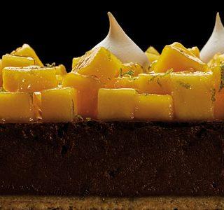 Chocolate, mango and lychee meringue tart by Luciano García