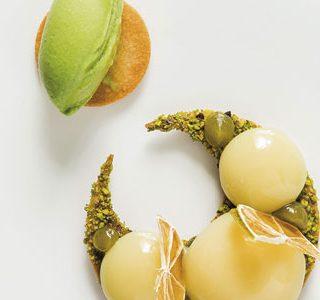 Yuzu yolks with basil ice cream by Andrés Morán
