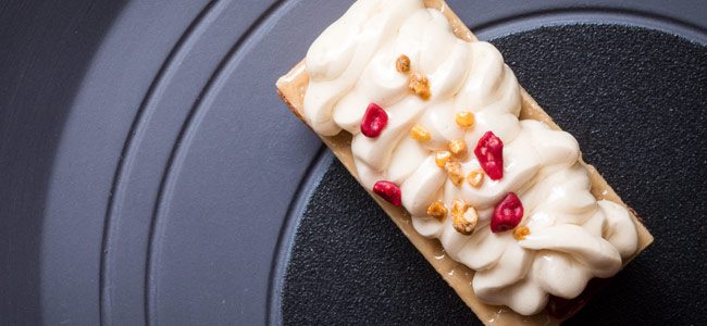 Dainty cake with almond and raspberry by Sarah Tibbetts