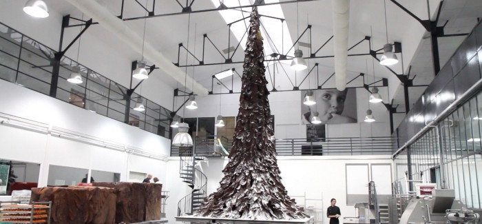 Patrick Roger creates a giant Christmas tree made of chocolate