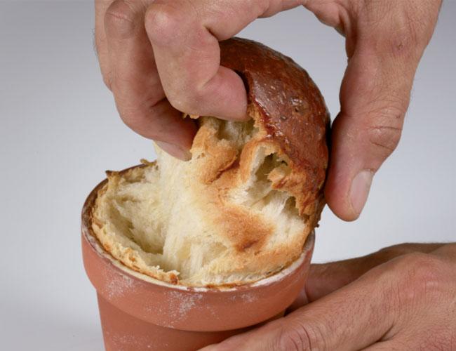 Onion brioche opened