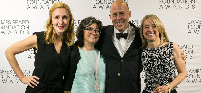 Dahlia Narvaez and Joanne Chang, winners at the 2016 James Beard Awards
