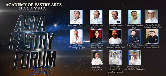 The 13 pastry chefs who will participate in the Asia Pastry Forum 2016
