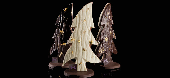 Christmas trees with three chocolates and gold leaf in Ernst Knam