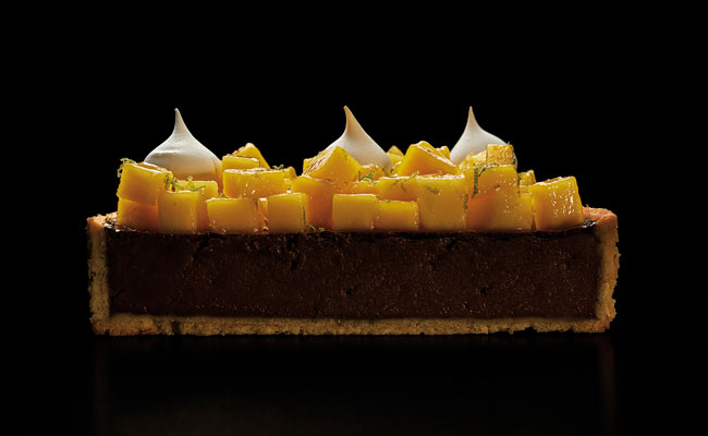 chocolate, mango and lychee tart by Luciano García