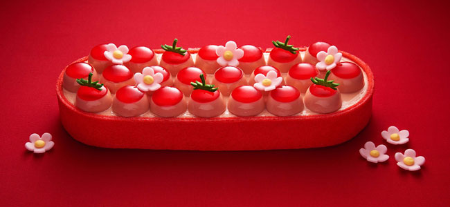 Strawberry, the stellar figure of Oberweis's ice cream cakes