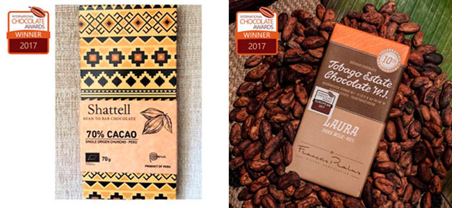 Shattell and Tobago-Pralus, on the podium of the International Chocolate Awards