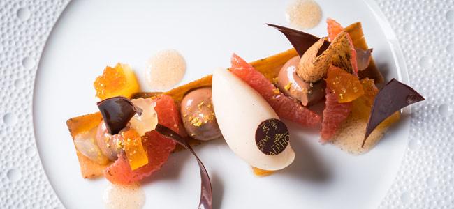 Oriado, grapefruit, and Mexican vanilla plated dessert by Nicolas Botomisy