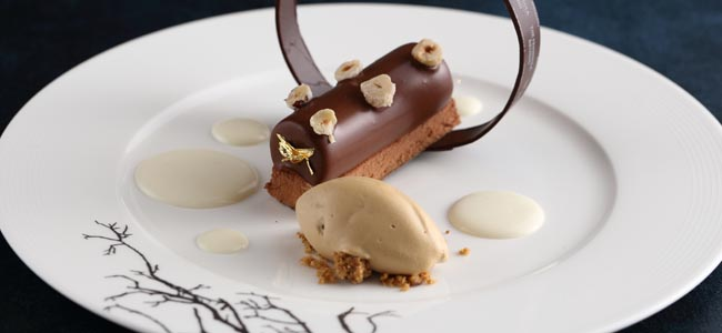 Le Nougat with nougat mousse, coffee ice cream and lime sauce by Frederic Moreau