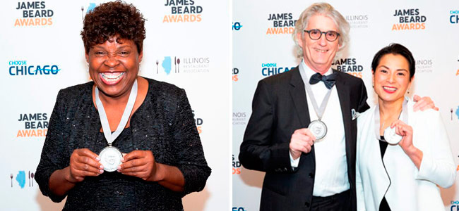 Dolester Miles, Belinda Leong, and Michel Suas, awarded at the James Beard Awards