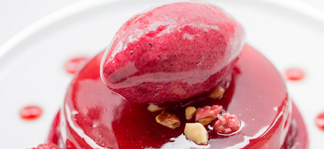 Baked Apple, blackcurrant sorbet by Sylvain Constans