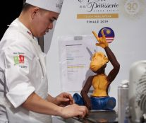 Working on the chocolate sculpture