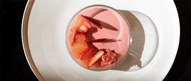 Strawberry, almond and grapefruit 'Think Pink' dessert by Sarah Tibbetts