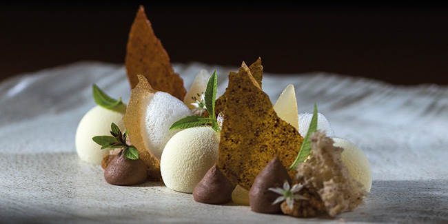 Goat cheese parfait plated dessert with pear, chestnut and pecan by Attila Meinhart