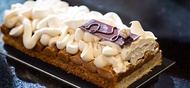 Bahia hazelnut tart with white chocolate and coffee whipped ganache by Paul Saiphet