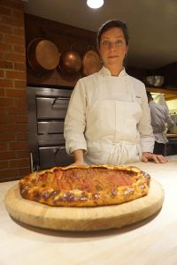pastry chef Carrie Lewis and her rhubarb galette