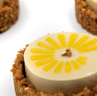 Passion fruit, orange and coffee L'Hespérie gateau that is gluten and sugar free, by MOF David Briand