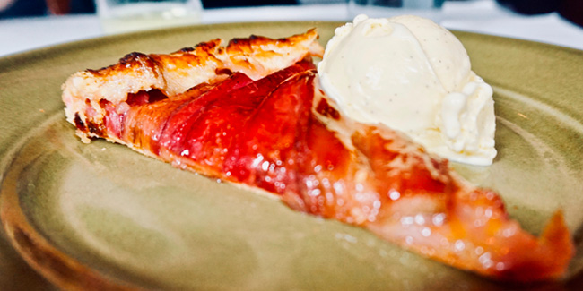 Rhubarb galette and ice cream