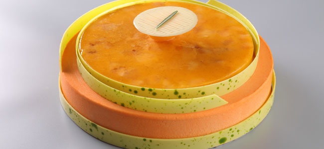 Doucer du Verger with Apricot, Rosemary, Pistachio and Dulcey Entremets by Nicolas Houchet