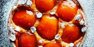 Cider infused caramelized apple tart with grapefruit jam