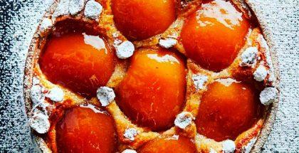 Cider infused caramelized apple tart with grapefruit jam