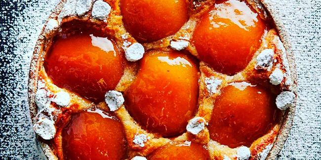 Cider infused caramelized apple tart with grapefruit jam by Jacquy Pfeiffer