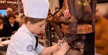 Chef working on a chocolate sculpture