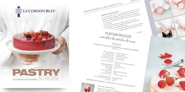 "100 recipes by Le Cordon Bleu in the book, ""The Pastry School"""