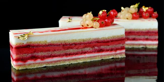 Opera aux framboises cake with raspberry and lime by Hideki Kawamura