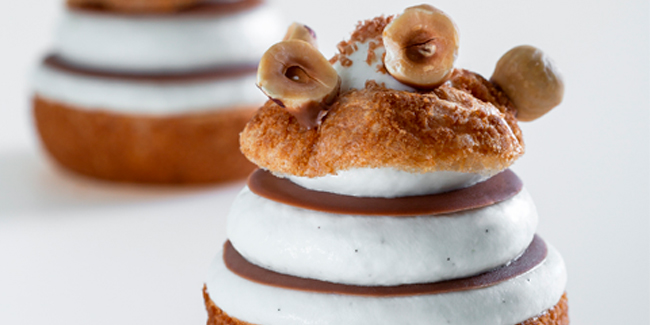 Vanilla, caramel and hazelnut choux gourmand by David Briand