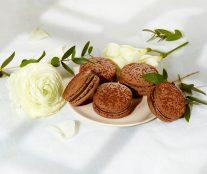 Vegan chocolate macaron by Ladurée