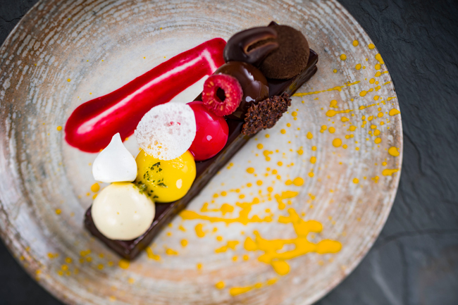 The Toledo Tapas Bar Spanish coffee, crunchy chocolate, raspberry mousse, and lemon curd by Stefan Riemer