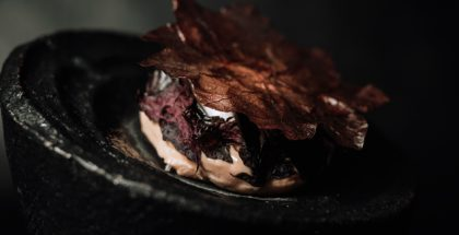 Frozen Guava, Sea Water Meringue, Black Olive by Will Aghajanian