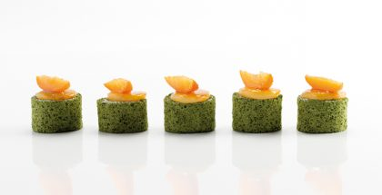 Yann Duytsche's Sweet Green Tea 'Pionono' and Apricot Snack