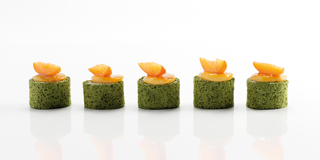 Yann Duytsche's Matcha tea and apricot 'Pionono' sweet snack