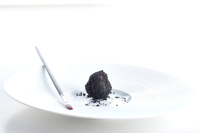 Chocolate truffle with coffee plated dessert by Marco d'Andrea