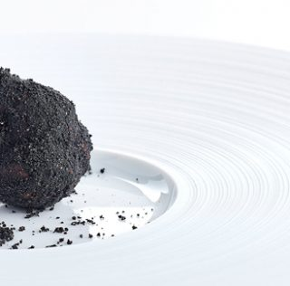 Chocolate truffle with coffee petit four by Marco d'Andrea