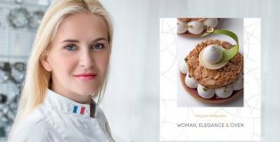 Tetyana Verbytska and the cover of her book women, elegance and oven