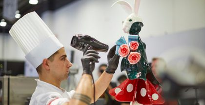 Chef working on a sugar sculpture