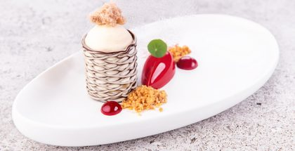 Platted dessert using Barbara Decor's Art Grillage