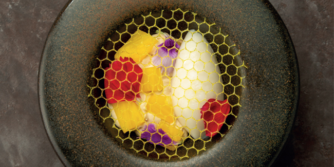 Rosemary, pineapple, soy sauce, chestnut honey, pine nut plated dessert by Alexey Grebenshchikov
