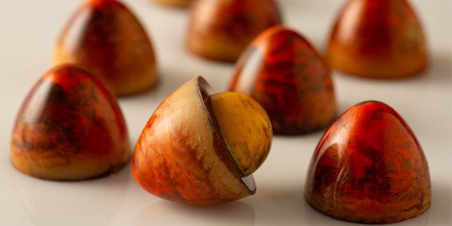 Sambirano pink grapefruit chocolate bonbons by Susan Notter