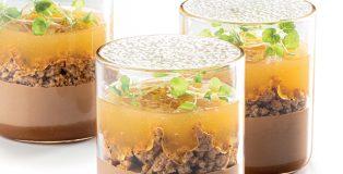 Sudachi, milk chocolate, and soy caramel dessert in a glass by Albert Daví