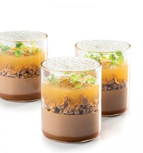 Sudachi, milk chocolate, and soy caramel dessert in a glass by Albert Daví