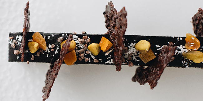 Chocolate mousse plated dessert by Andrea Coté