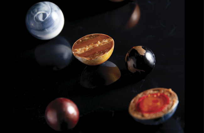 Earth inspired bonbons  by Bart de Gans and Maurits van der Vooren