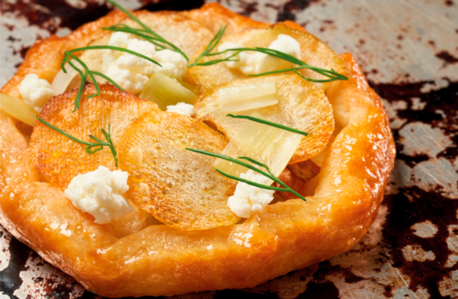 Galette with leeks, potatoes, and goat cheese