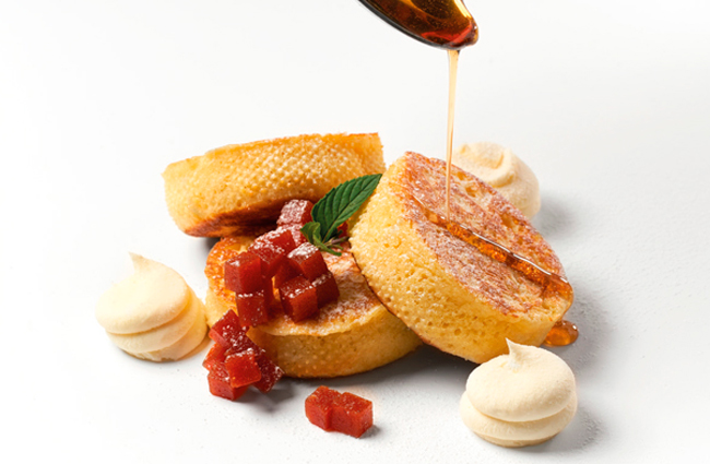 Pancake with guava, syrup, and cream cheese